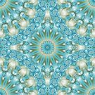 Turquoise and Gold Mandala Tile by Kelly Dietrich