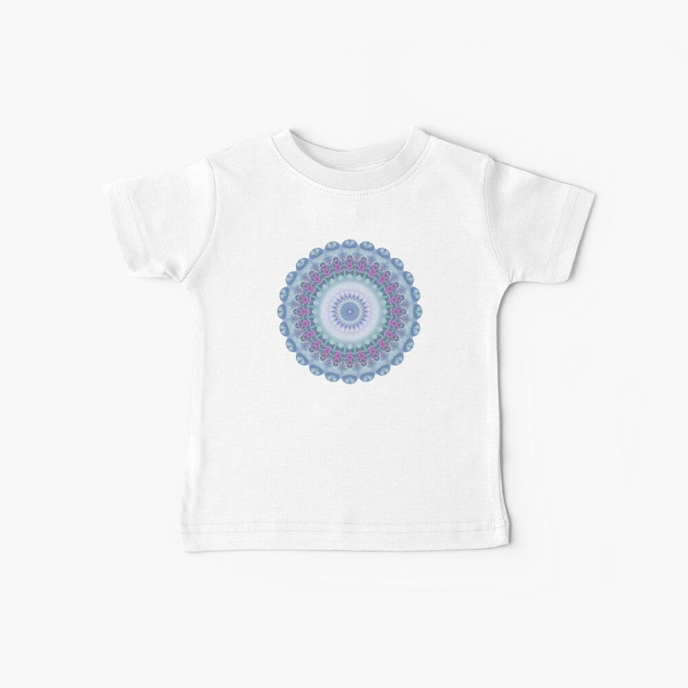 Violet Flowers Mandala in Purple, Blue, Green and White Baby T-Shirt