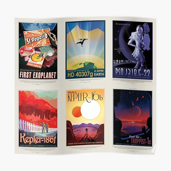 NASA JPL Space Tourism collage: Exoplanet Travel Bureau (8K resolution) Poster