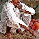 Old Man with Hookah by Barbara  Brown