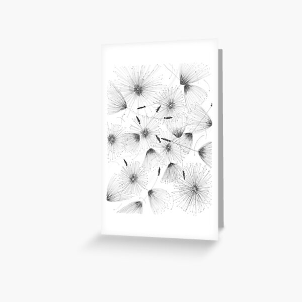 Make a wish black and white line drawing Greeting Card
