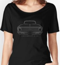 Chevy C-10 Pickup - front stencil, white Women's Relaxed Fit T-Shirt