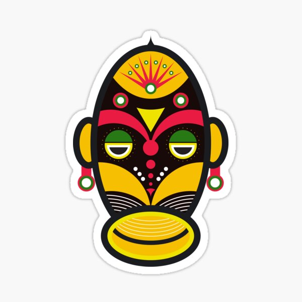African Mask Traditional Tribal Sticker