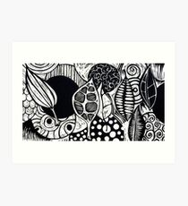 Woodcut Leaves and Patterns Art Print