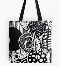 Woodcut Leaves and Patterns Tote Bag