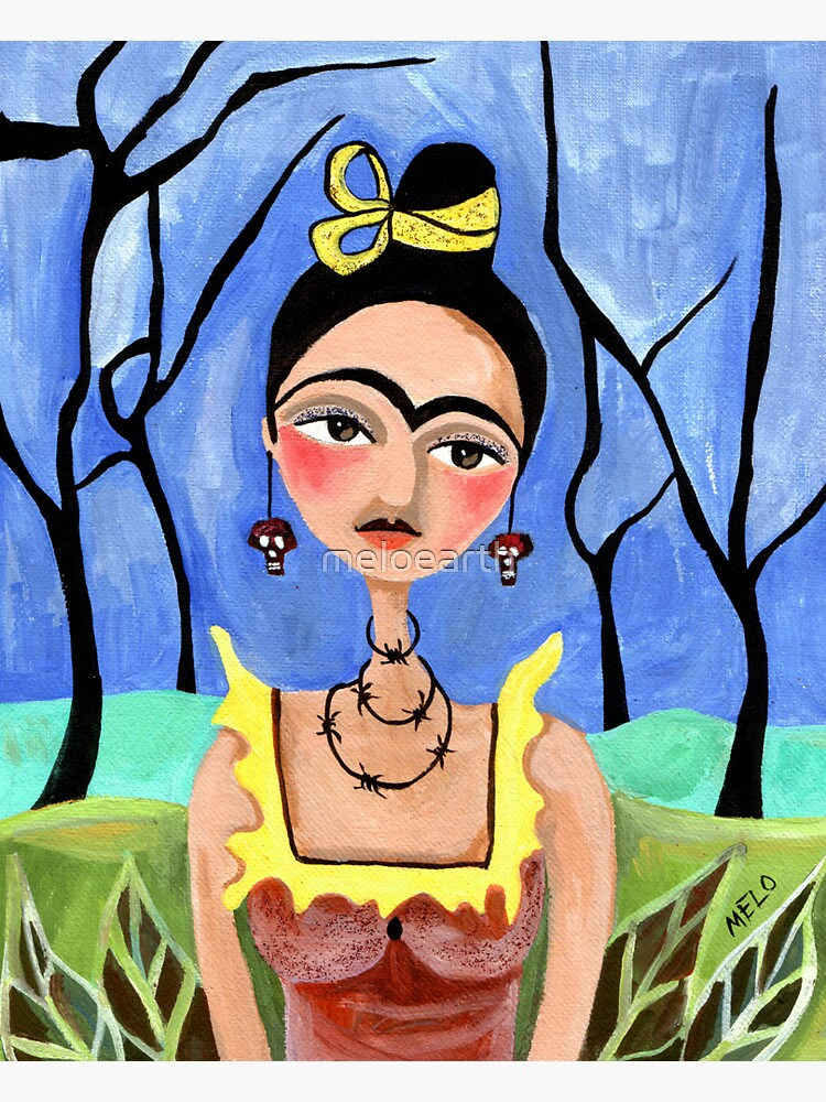 Frida Kahlo in the Woods with Skull Earrings Portrait by meloearth