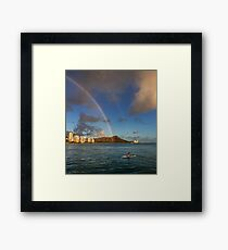 Rainbow over Diamond Head Framed Print
