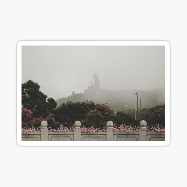 Misty view of the Tian Tan Buddha Pegatina