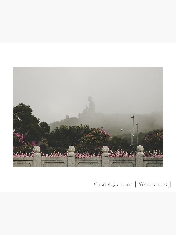 Misty view of the Tian Tan Buddha by gabrielquintana