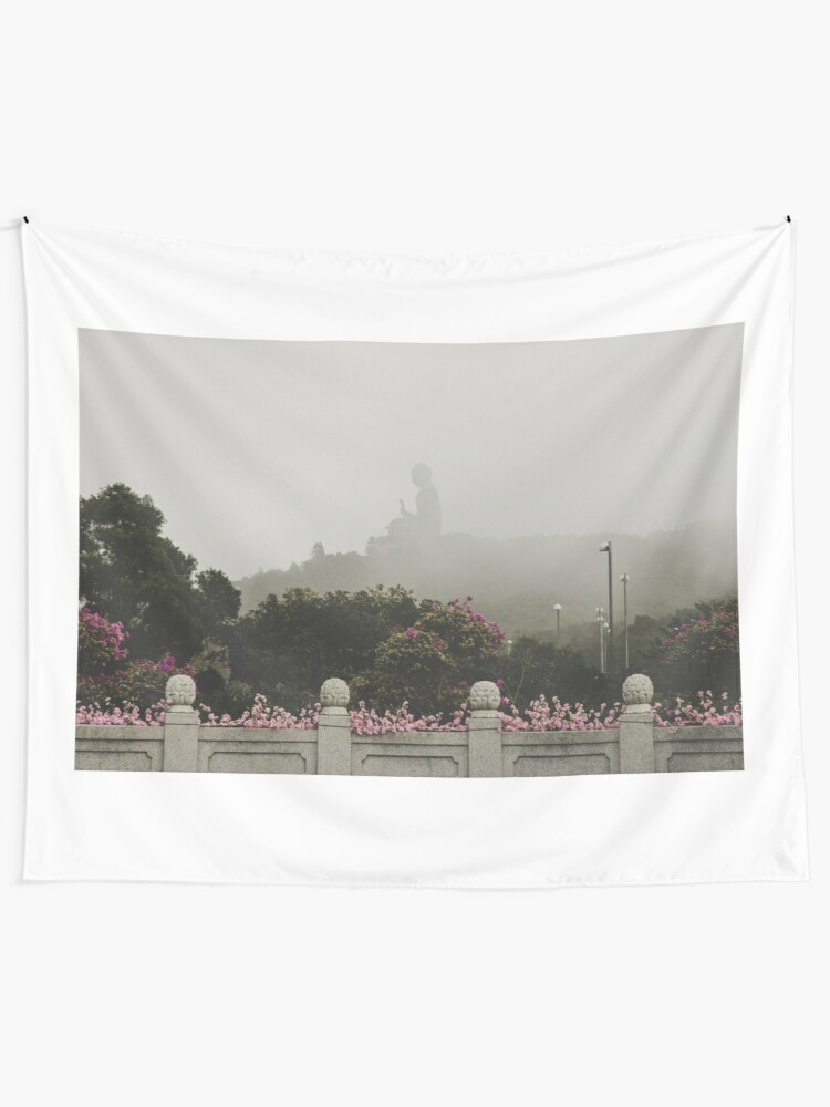 Alternate view of Misty view of the Tian Tan Buddha Tapestry