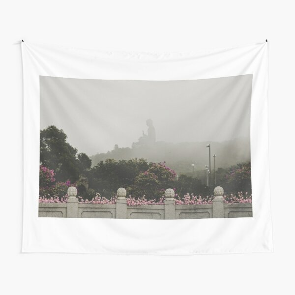 Misty view of the Tian Tan Buddha Tapestry