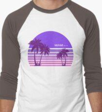 Synthwave - Miami FM-77 Men's Baseball ¾ T-Shirt