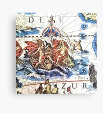 Neptune Ancient Maritime Map Canvas Print