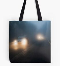 Car headlights driving in heavy mist  Tote Bag