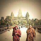 monks and angkor wat  by Amagoia  Akarregi