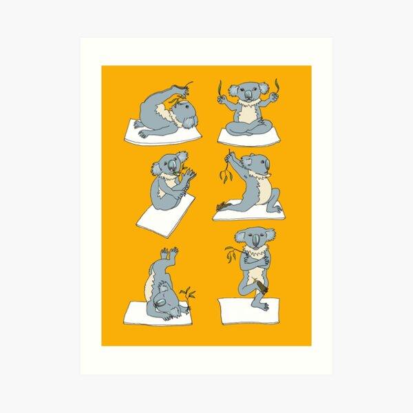 Australian Koalas do Yoga Exercises Art Print