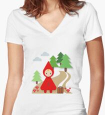 Little Red Riding Hood Women's Fitted V-Neck T-Shirt