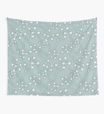 Baby's Breath Flower Pattern - Grey Green Wall Tapestry