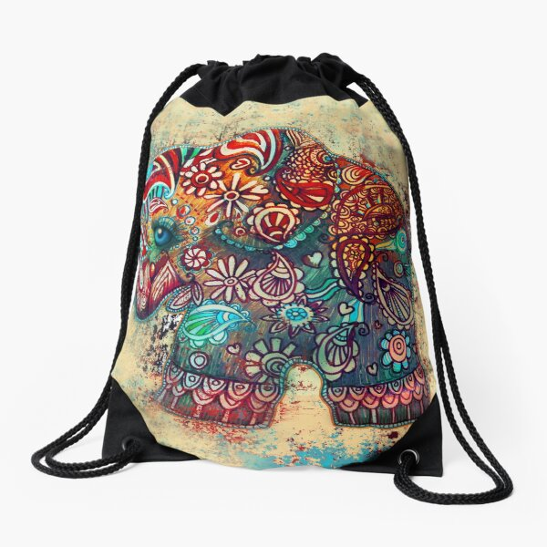 Vintage Elephant Drawstring Bag