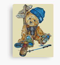 Hill Walking Teddy Bear Canvas Print