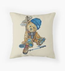 Hill Walking Teddy Bear Throw Pillow