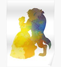 Princess and Prince Dancing Inspired Silhouette Poster