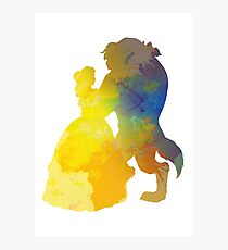Princess and Prince Dancing Inspired Silhouette Photographic Print