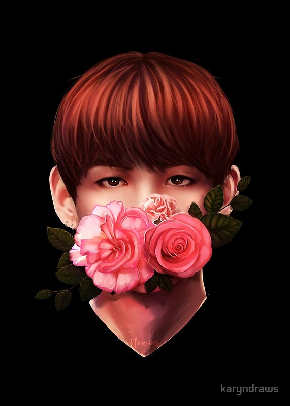 Quot Flowers Taehyung Quot By Karyndraws Redbubble