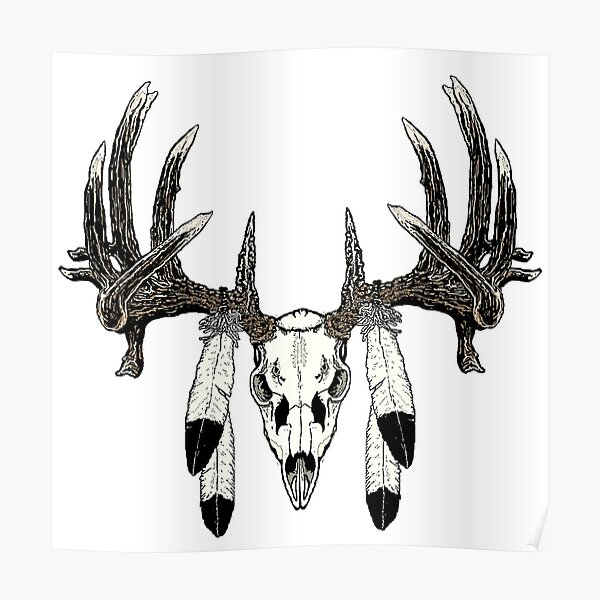 Whitetail buck eagle feathers Poster