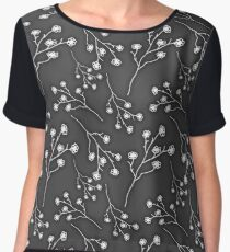 Baby's Breath Flower Pattern - Black Chiffon Top