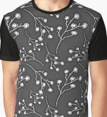 Baby's Breath Flower Pattern - Black Graphic T-Shirt