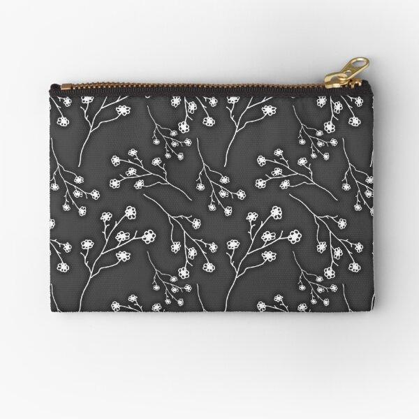 Baby's Breath Flower Pattern - Black Zipper Pouch