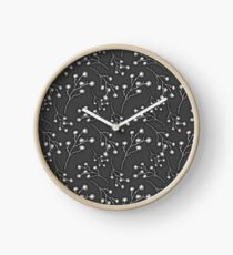 Baby's Breath Flower Pattern - Black Clock