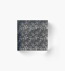 Baby's Breath Flower Pattern - Black Acrylic Block