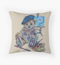 Vinny Teddy Bear Artist Throw Pillow