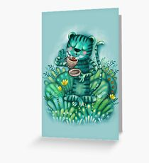 tiger relax, a cat who loves tea Greeting Card