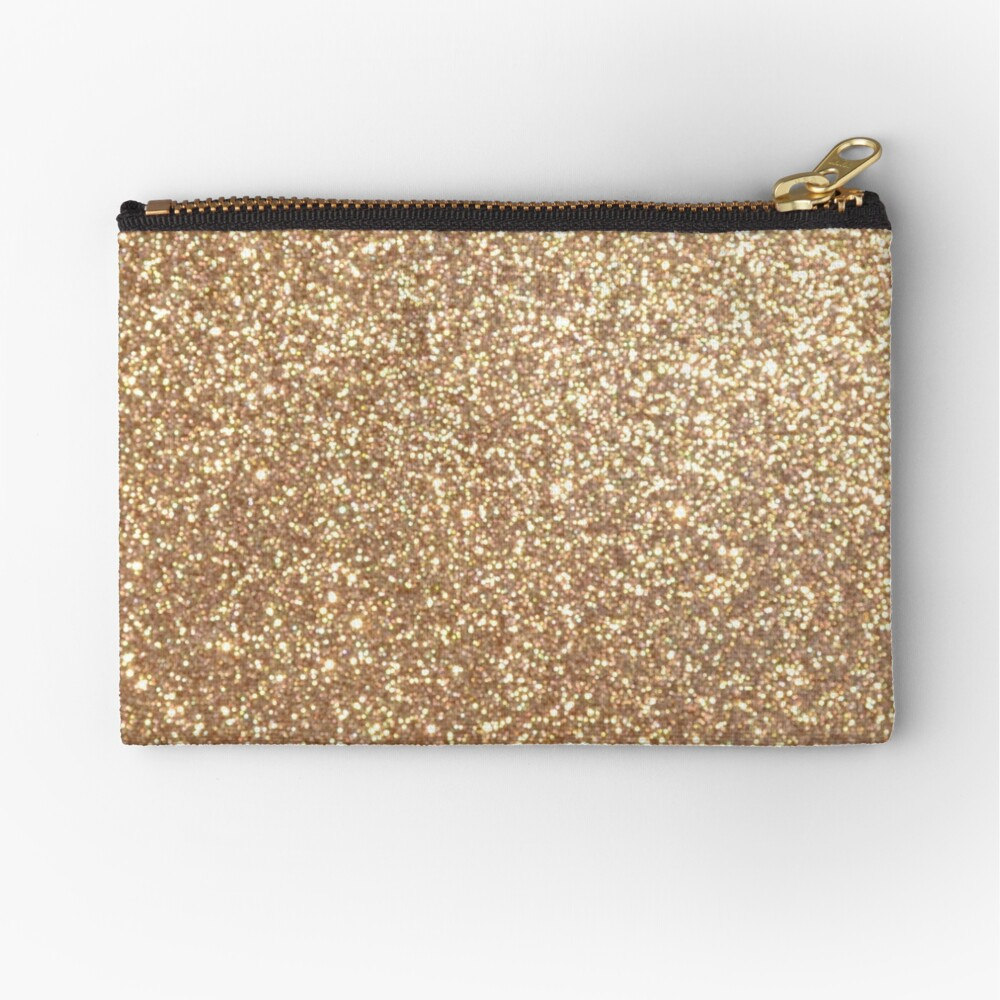 Copper Rose Gold Metallic Glitter Zipper Pouch