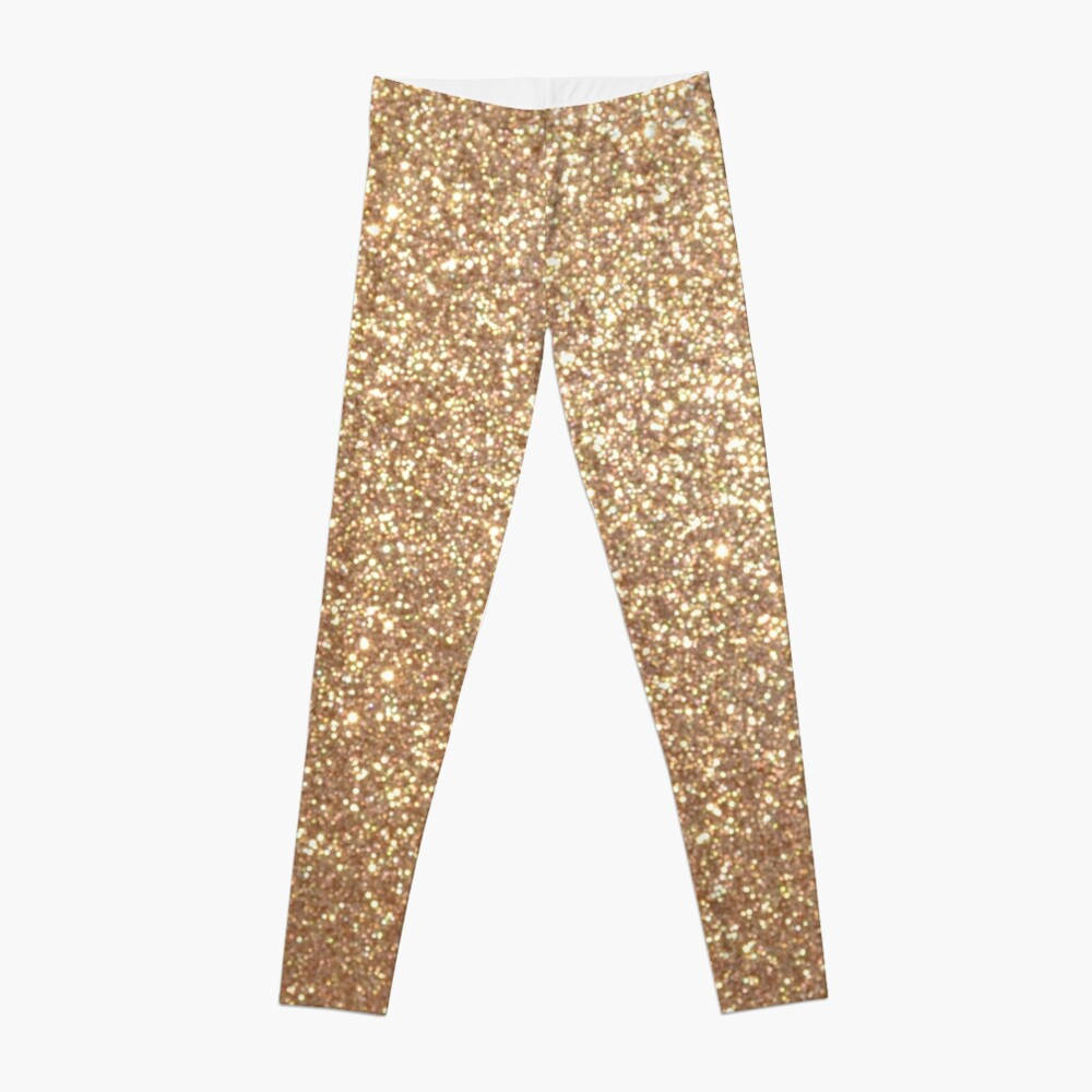 Copper Rose Gold Metallic Glitter Leggings