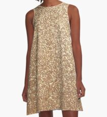 Copper Rose Gold Metallic Glitter A-Line Dress