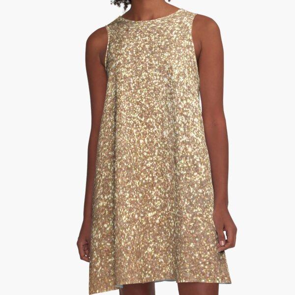 Copper Rose Gold Metallic Glitter A-Line Dress
