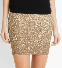 Copper Rose Gold Metallic Glitter Mini Skirt