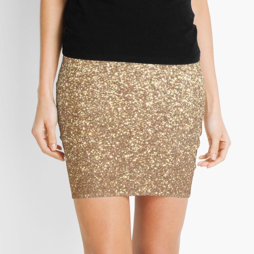 Copper Rose Gold Metallic Glitter Mini Skirt