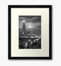 Chicago Skyline at Night in Black and White Framed Print