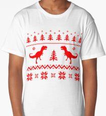 Christmas ugly sweater pattern dinosaur Long T-Shirt
