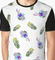 Easter Bunnies and Daffodil Flowers Graphic T-Shirt