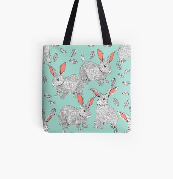 Rabbits All Over Print Tote Bag