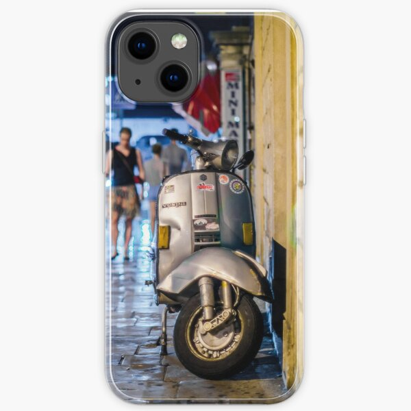 Vespa on busy street at night iPhone Soft Case
