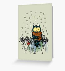 Owl in the snow v2 Greeting Card