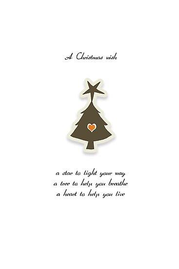 Christmas Card - Retro Wish Tree by Karin Taylor