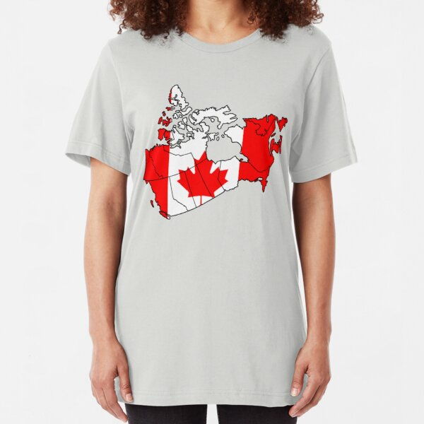 Canada Country Outline and Flag Slim Fit T-Shirt
